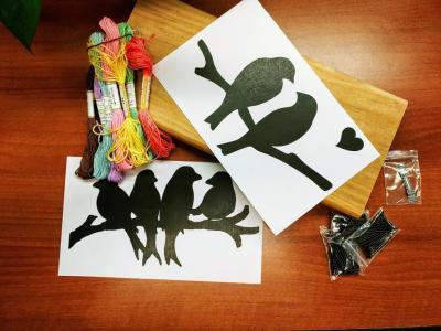 Adult craft kit: lovebird string art.