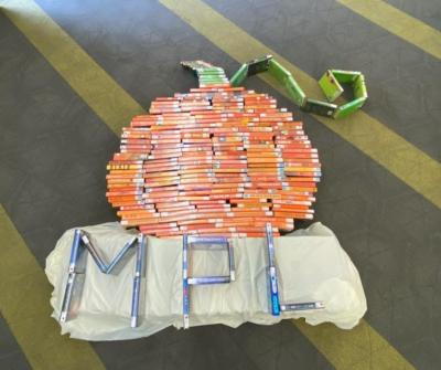 Book pumpkin. Image credit: Morton Public Library.