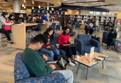 "West Leyden High School Library; Students engaged in our annual ""Don't be Loco, Have Some Cocoa"" reading campaign!"