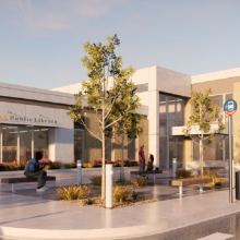 Rendering of new East Moline Public Library building; photo credit: East Moline Public Library