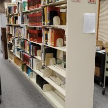 Library shelving. Photo courtesy of Ron Barshinger (2021).
