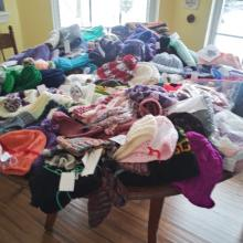Clothing donations for Popular Creek Public Library.