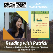 Reading with Patrick. Read Between the Ravines. Image credit: Lake Forest Public Library.